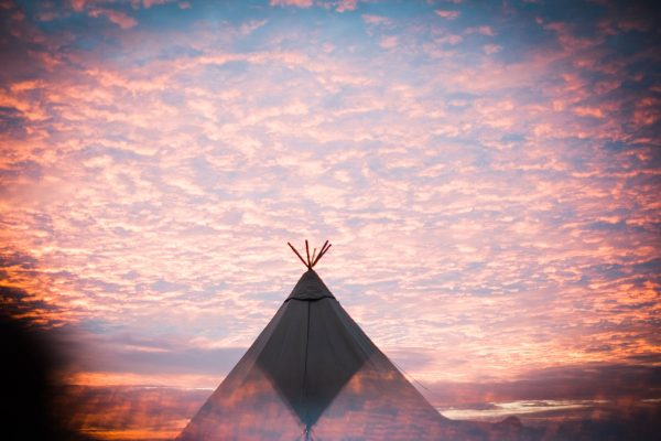 tipi-with-red-sky-cornwall